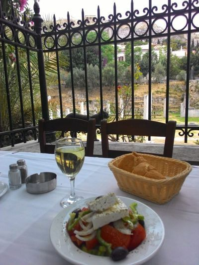Lunch place on Panos - Lunch place on Paros, Greek wine and salad with acropolis view
