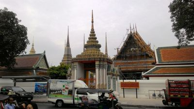 Wat Pho Buddhist temple complex - View from the street