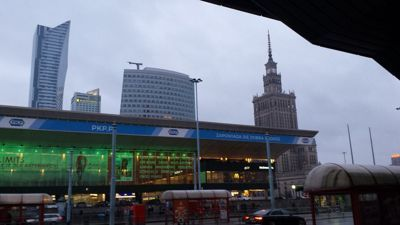 Warsaw central trainstation and skyline