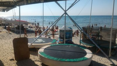 iron port beach fun activities - Beach trampoline game