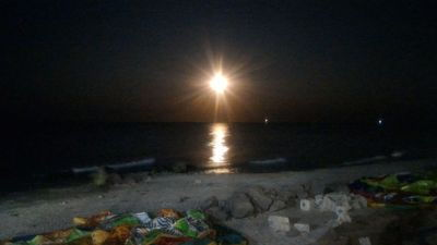 Full moon sea sunny coast - Full moon sea iron port